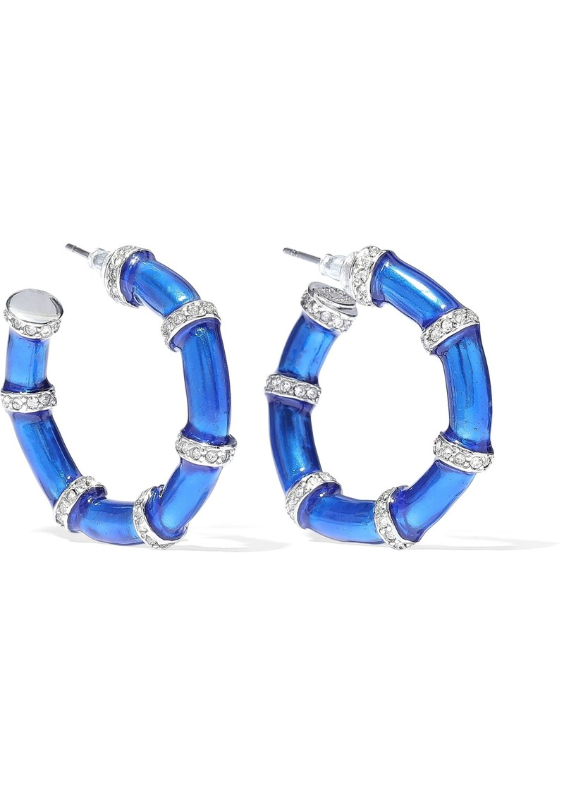 Kenneth Jay Lane Woman Silver-tone Crystal And Enamel Hoop Earrings Bright Blue