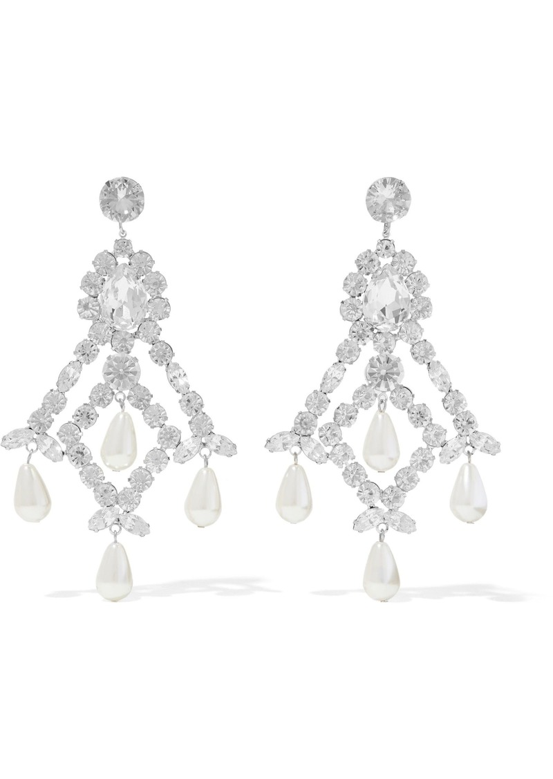 Kenneth Jay Lane Woman Silver-tone Crystal And Faux Pearl Earrings Silver