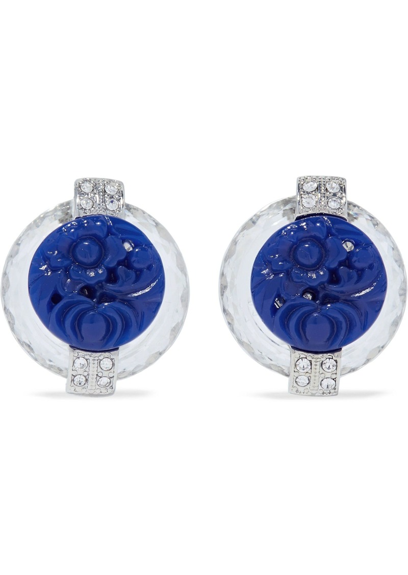 Kenneth Jay Lane Woman Silver-tone Crystal And Resin Clip Earrings Midnight Blue