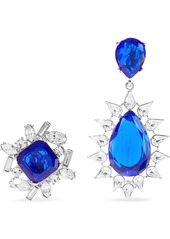 Kenneth Jay Lane Woman Silver-tone Crystal Clip Earrings Royal Blue