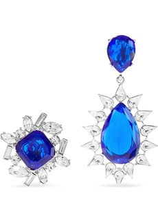 Kenneth Jay Lane Woman Silver-tone Crystal Clip Earrings Royal Blue