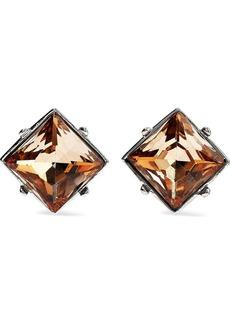 Kenneth Jay Lane Woman Silver-tone Crystal Clip Earrings Silver
