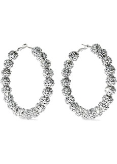 Kenneth Jay Lane Woman Silver-tone Crystal Hoop Earrings Silver
