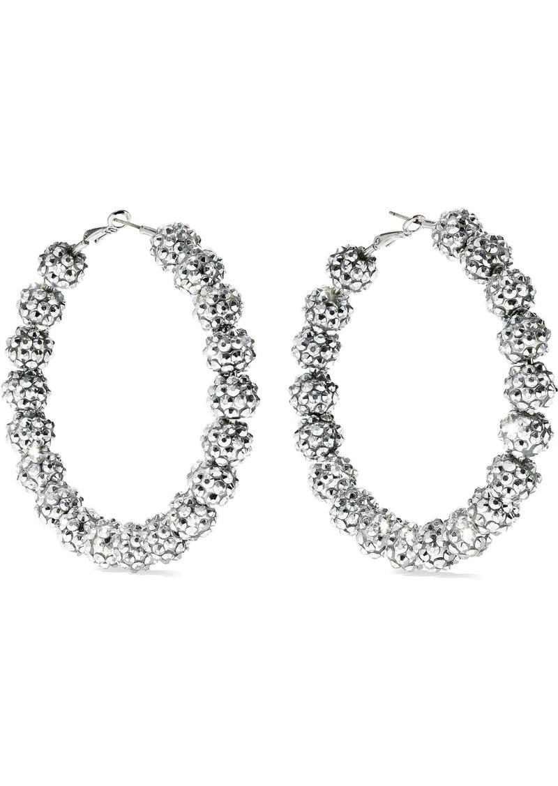Kenneth Jay Lane Woman Silver-tone Crystal Hoop Earrings Silver