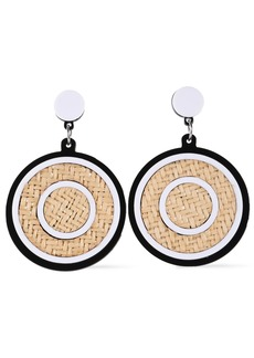 Kenneth Jay Lane Woman Silver-tone Rattan And Acetate Earrings White
