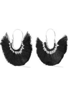 Kenneth Jay Lane Woman Silver-tone Tasseled Cord Earrings Black