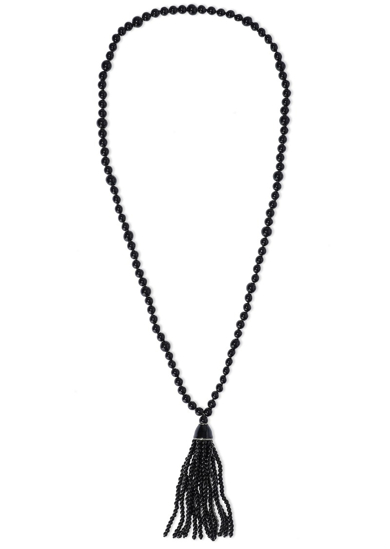 Kenneth Jay Lane Woman Tasseled Gold-plated Beaded Necklace Black