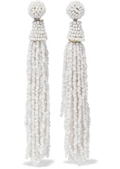 Kenneth Jay Lane Woman Tasseled Gold-tone Beaded Earrings White