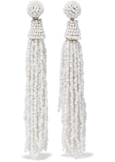 Kenneth Jay Lane Woman Tasseled Gold-tone Beaded Earrings White