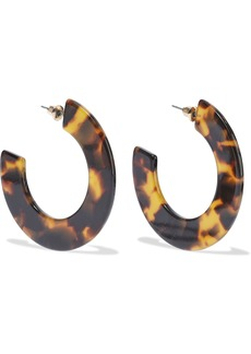 Kenneth Jay Lane Woman Gold-plated Tortoiseshell Resin Hoop Earrings Animal Print