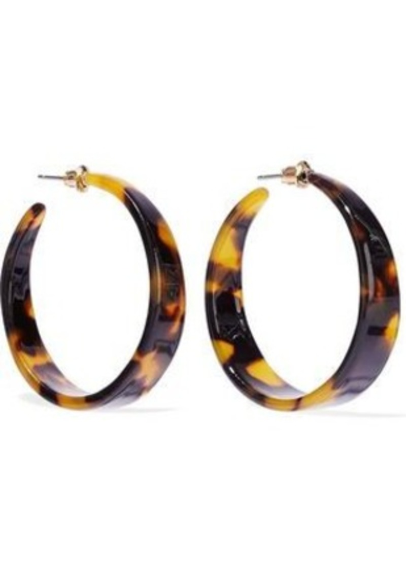 Kenneth Jay Lane Woman Tortoiseshell Acetate Hoop Earrings Animal Print