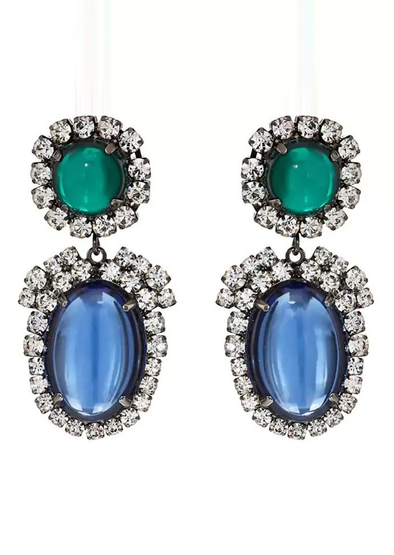 Kenneth Jay Lane Women S Cabochon Crystal Double Drop Earrings