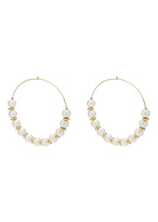Kenneth Jay Lane Women's Imitation-Pearl Wire Hoop Earrings