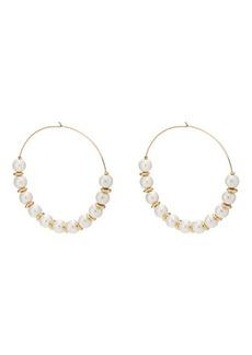 Kenneth Jay Lane Women's Imitation-Pearl Wire Hoop Earrings - Gold