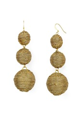 Kenneth Jay Lane Woven Gold Ball Triple Drop Earrings