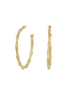 Kenneth Jay Lane Large Gold Bamboo Pierced Hoop Earrings