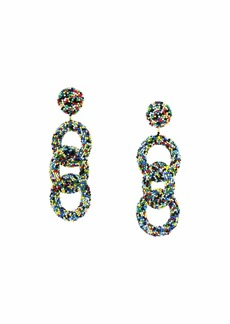 Kenneth Jay Lane Light Multicolor Seedbead Three Rings Post Earrings