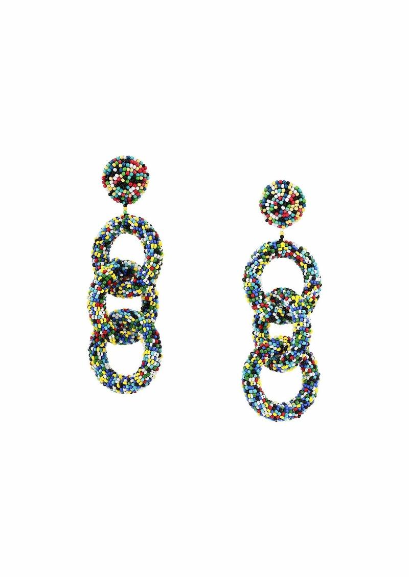 Kenneth Jay Lane Light Multicolor Seedbead Three Rings Post Earrings