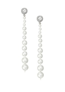 Kenneth Jay Lane Mixed Faux-Pearl, Crystal & Rhodium Plated Drop Earrings