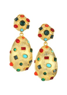 Kenneth Jay Lane Multicolor Glass Stone Drop Earrings