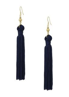 Kenneth Jay Lane Polished Gold Bead and Navy Tassel Fishhook Earrings