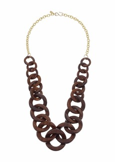 Kenneth Jay Lane Polished Gold Chain with Wood Links Necklace