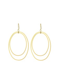 Kenneth Jay Lane Polished Gold Double Open Oval Drop Fishhook Earrings