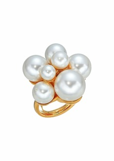 Kenneth Jay Lane Polished Gold/White Pearl Cluster Ring