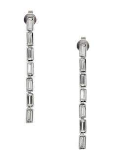 Kenneth Jay Lane Polished Silver Crystal Baguette Drop Pierced Earrings