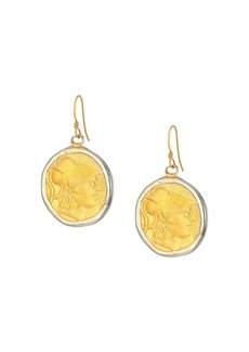 Kenneth Jay Lane Rhodium/Satin Gold Coin Fishhook Earrings