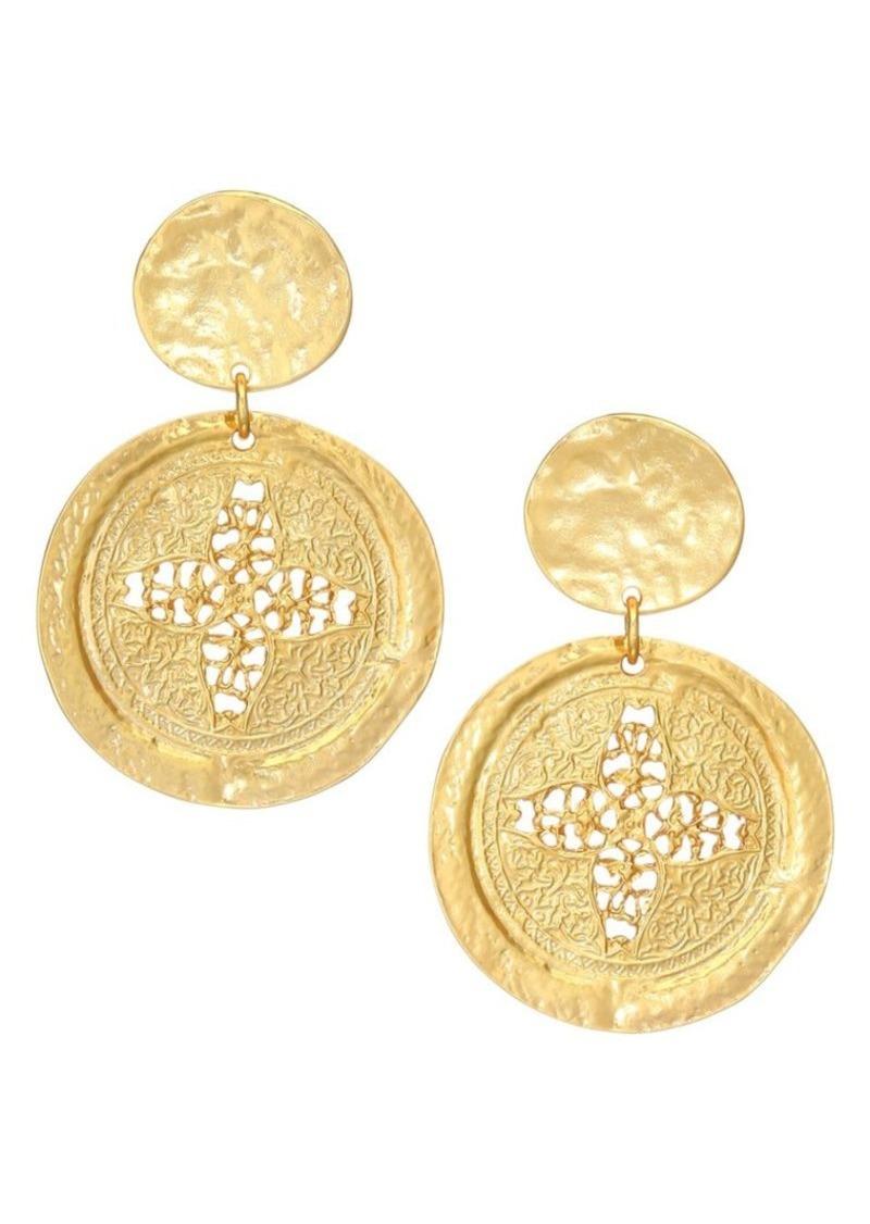 Kenneth Jay Lane Satin Coin Drop Earrings