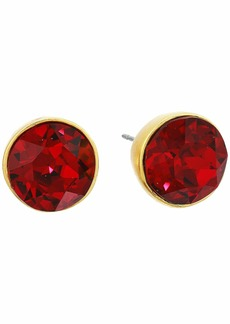 Kenneth Jay Lane Satin Gold/Ruby Round Headlight Post Earrings