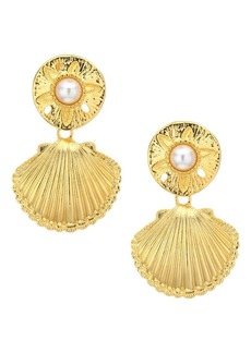 Kenneth Jay Lane Shell Faux Pearl Clip-On Earrings