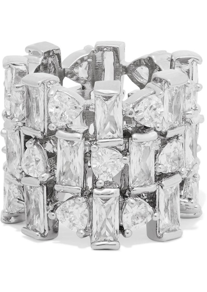 Silver-tone Cubic Zirconia Ring