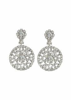 Kenneth Jay Lane Silver/Crystal Circle Drop Clip Earrings