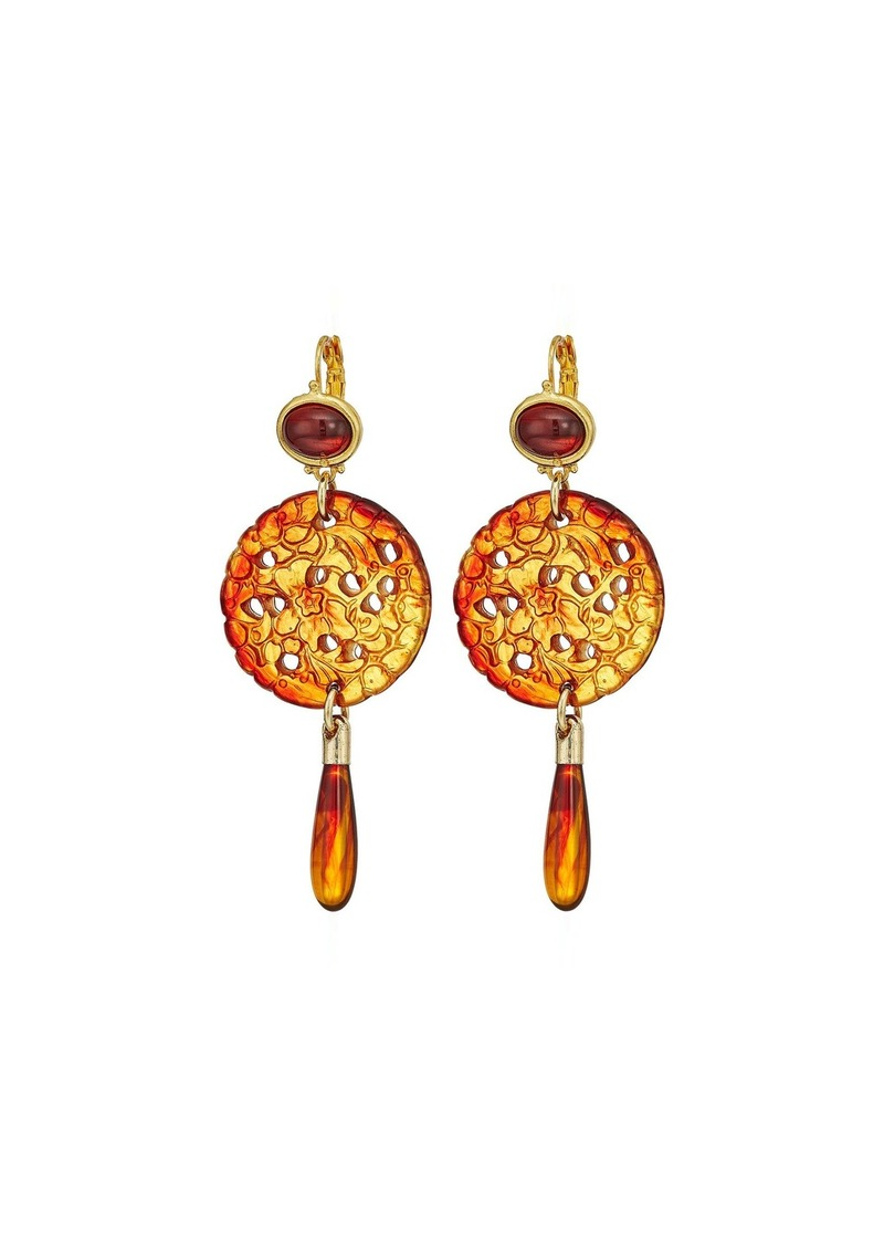 Kenneth Jay Lane Small Gold Tortoise Top/Craved Tortoise/Tortoise Drop Wire Earrings