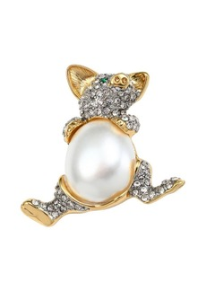 Kenneth Jay Lane White Round Faux Pearl Pig Pin