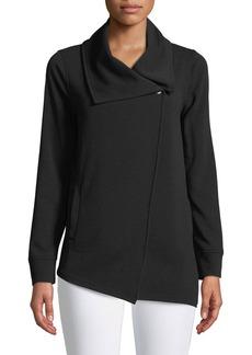 Asymmetric-Zip Crepe Jacket