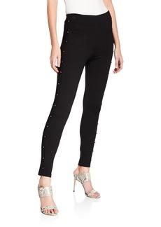 Kensie Beaded-Embellished Flat-Front Pants