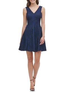 Kensie Bonded Lace V-Neck Fit & Flare Mini Dress