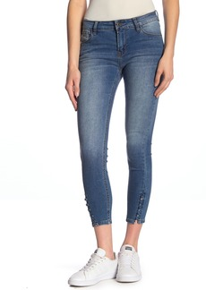 Kensie Button-and-Loop Hem Skinny Jeans