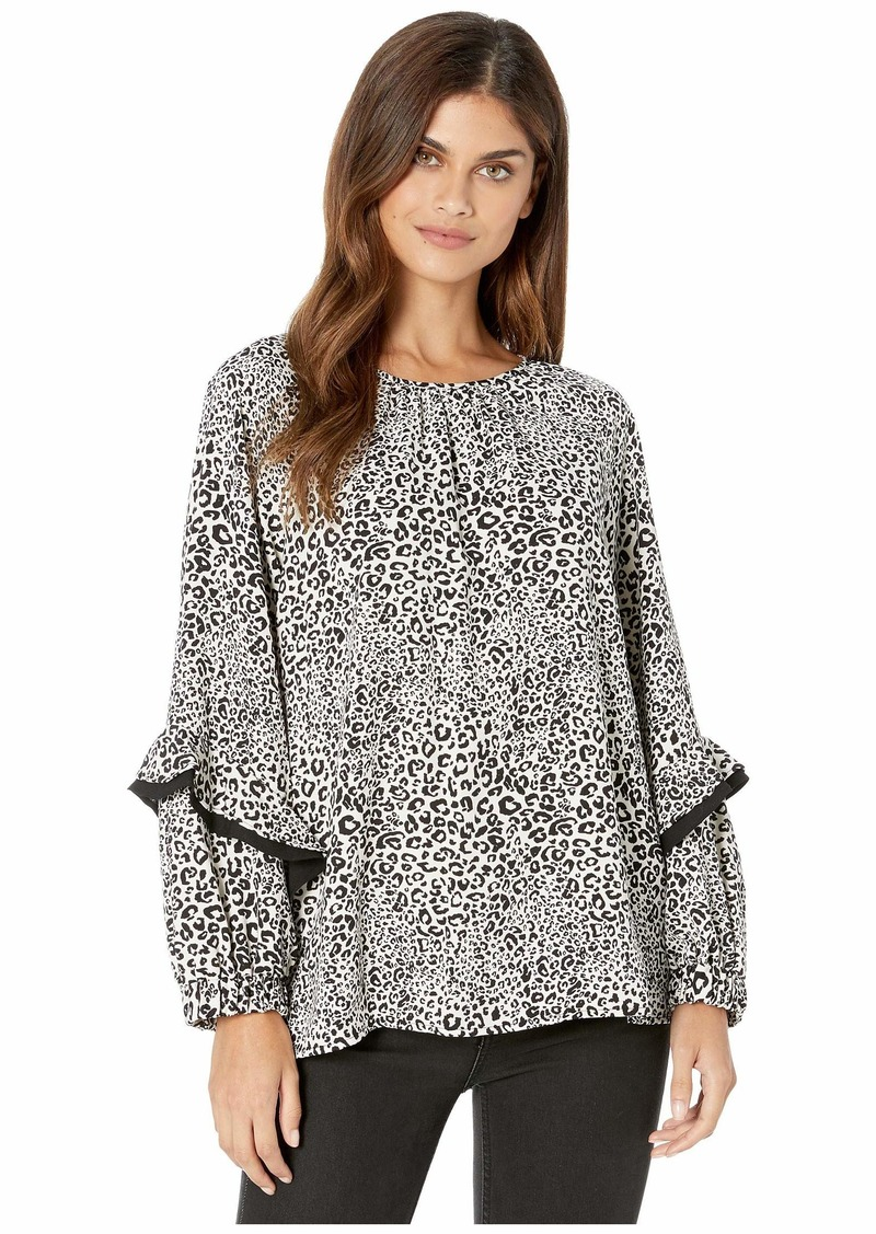 Kensie Cheetah Long Sleeve Blouse with Ruffle Detail KS9K4824