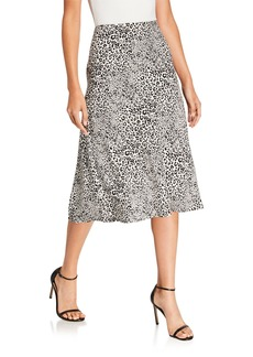 Kensie Cheetah-Print Midi Skirt