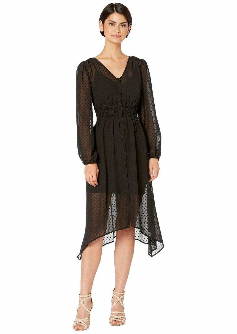Kensie Circle Swiss Dot Ruched Waist Long Sleeve Button Front Dress KS7K8417
