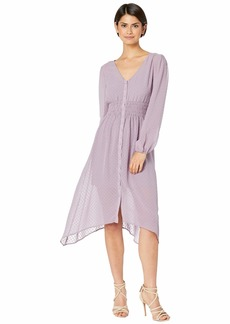 Kensie Circle Swiss Dot Ruched Waist Long Sleeve Button Front Dress KS7K8417