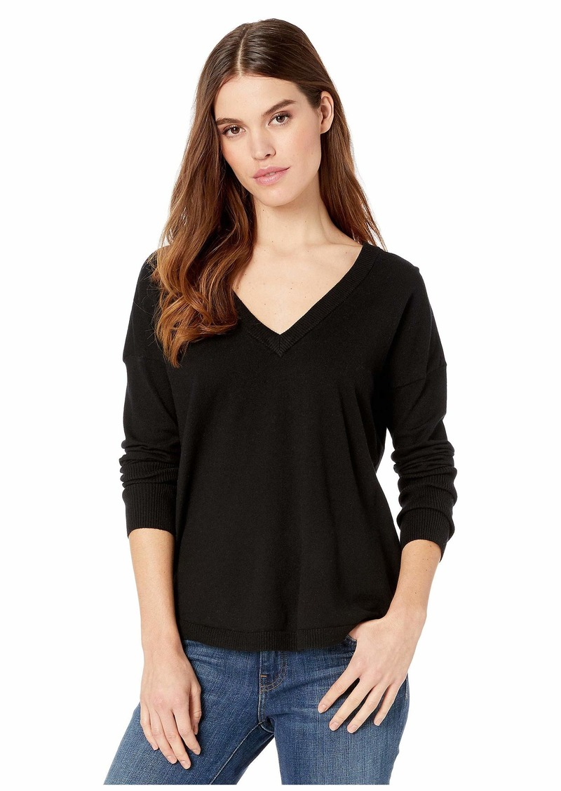 Kensie Comfy Viscose Blend V-Neck Sweater with Tie Back Detail KS1K5959