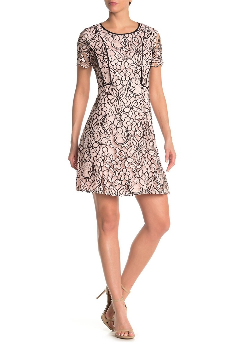 Kensie Contrast Lace Fit & Flare Dress