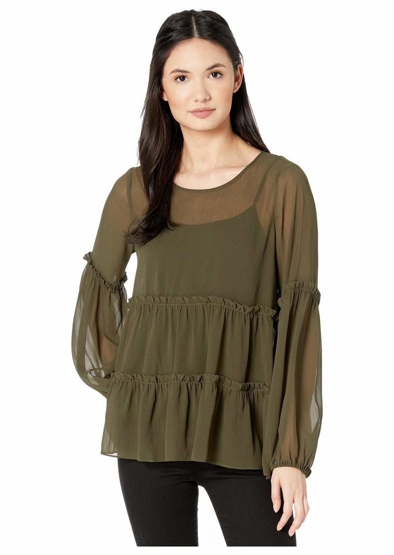Kensie Crinkle Chiffon Long Sleeve Top KS0K4833
