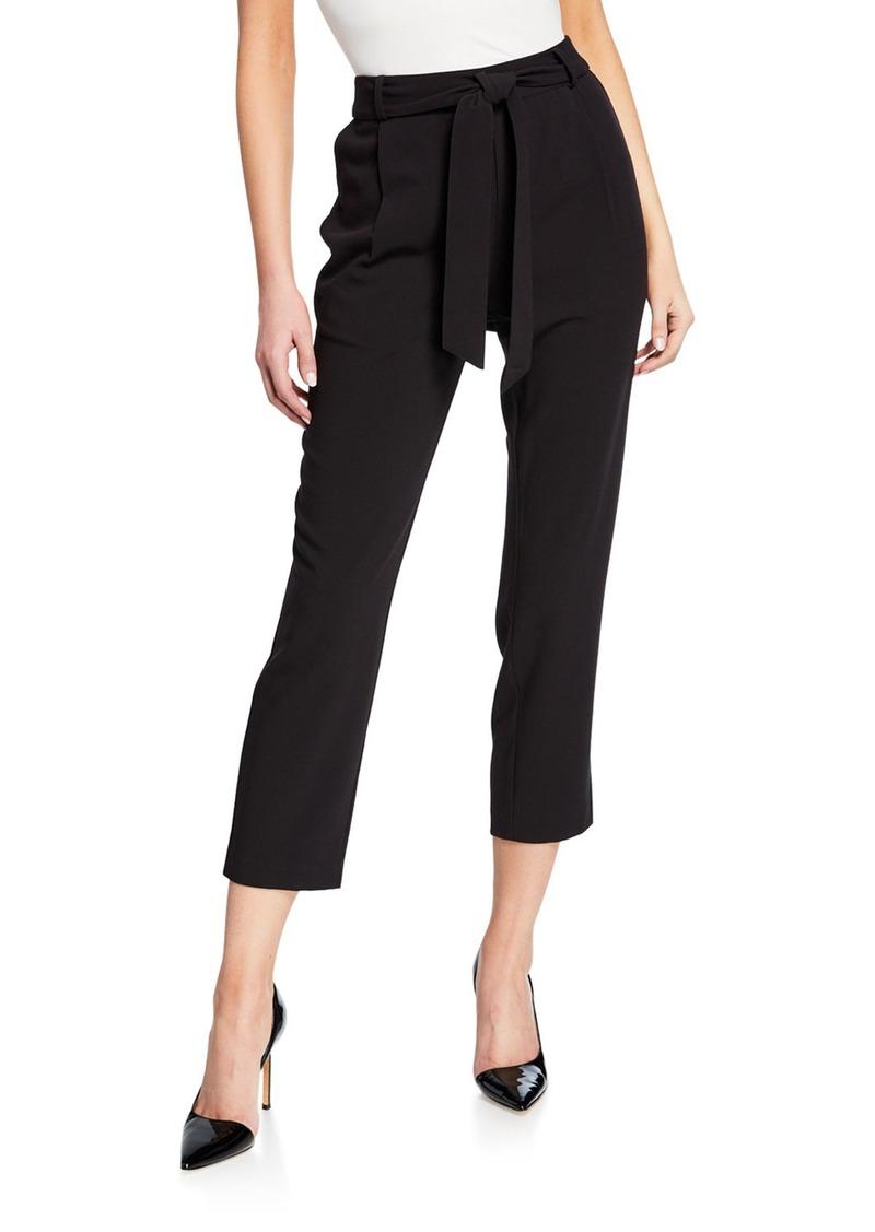 Kensie Cropped Crepe Pants w/ Tie Sash