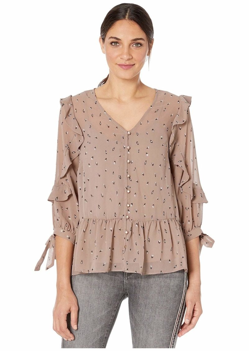 Kensie Dainty Animal 3/4 Sleeve Blouse with Ruffle and Tie Details KSNK4835